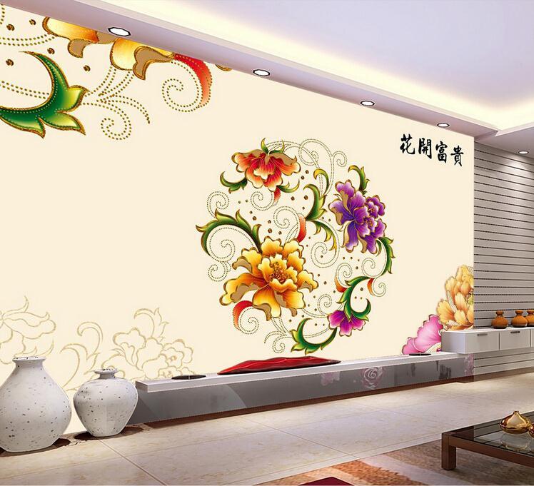 客厅背景墙 花开富贵牡丹花彩雕壁画背景墙