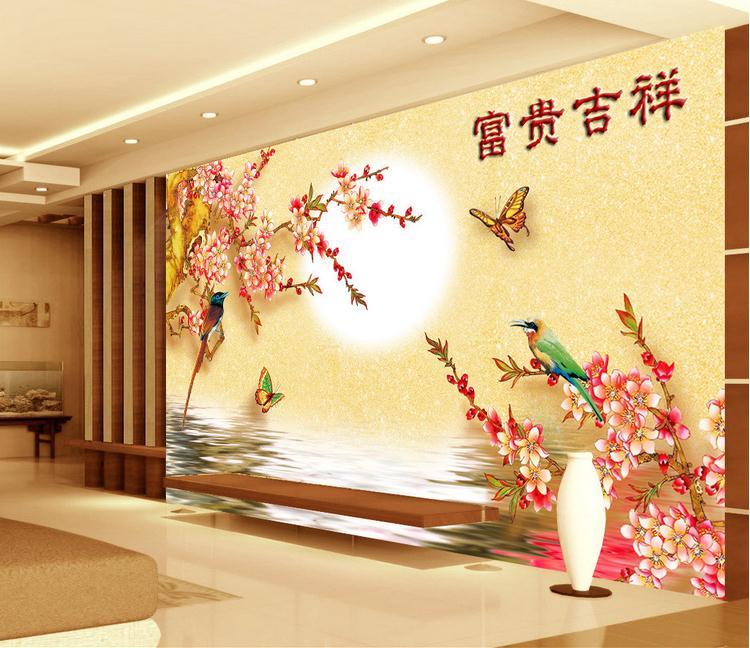 客厅背景墙 花鸟蝴蝶彩雕电视背景墙