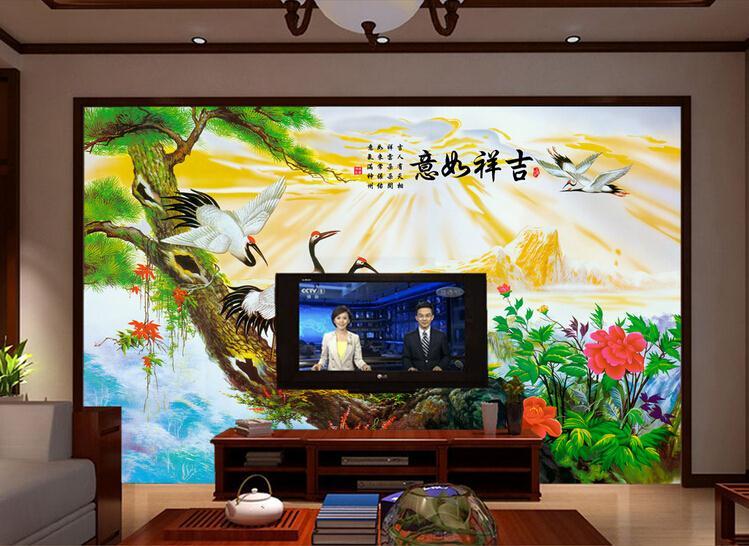 客厅背景墙 吉祥如意仙鹤中式电视沙发背景墙