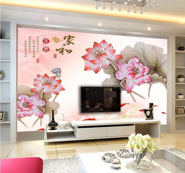 客厅背景墙 家和万事兴荷花九鱼电视背景墙