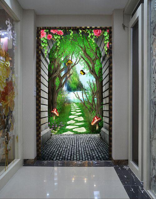 过道玄关背景、花园拱门3D玄关过道背景墙