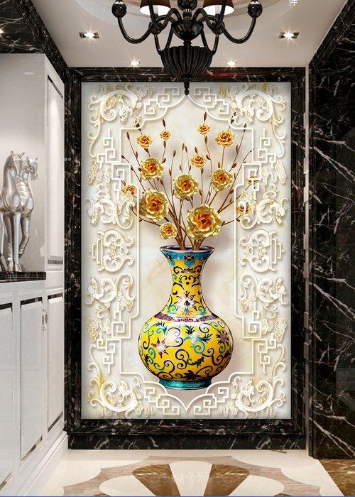 过道玄关背景、极品发财树花瓶玫瑰玄关过道背景墙