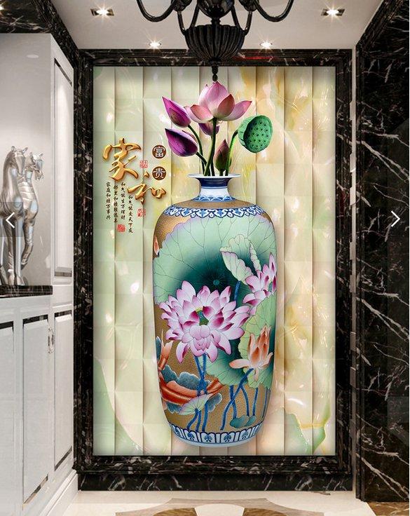 过道玄关背景、家和富贵花瓶荷花玄关电视背景墙