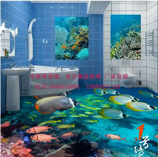 3D游泳池地板 3D海洋世界地板