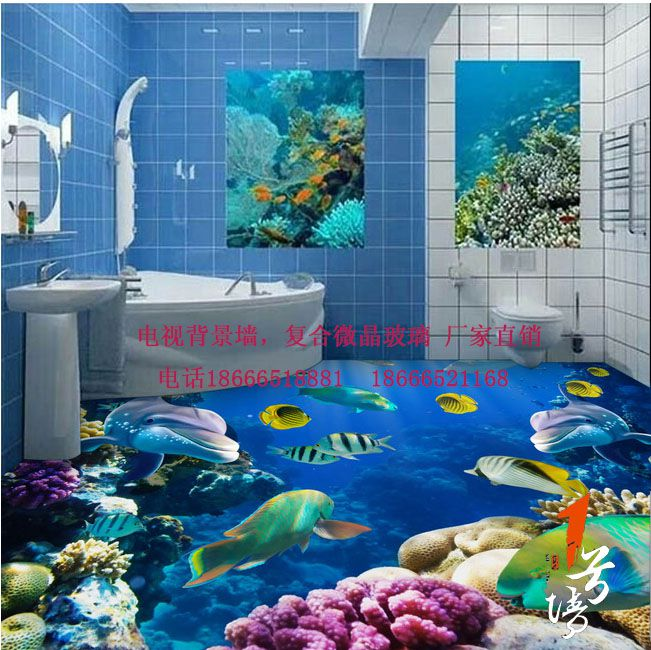 3D游泳池地板 3D海洋世界地板瓷砖