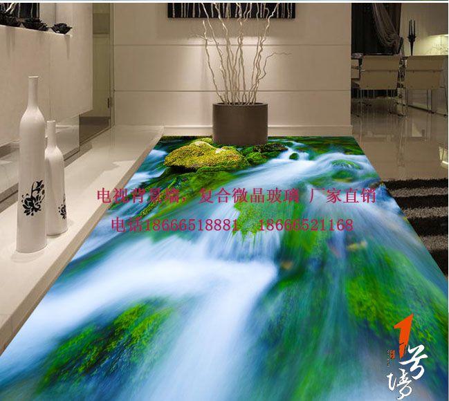 3D游泳池地板 高清青苔河流水草3D浴室地板画