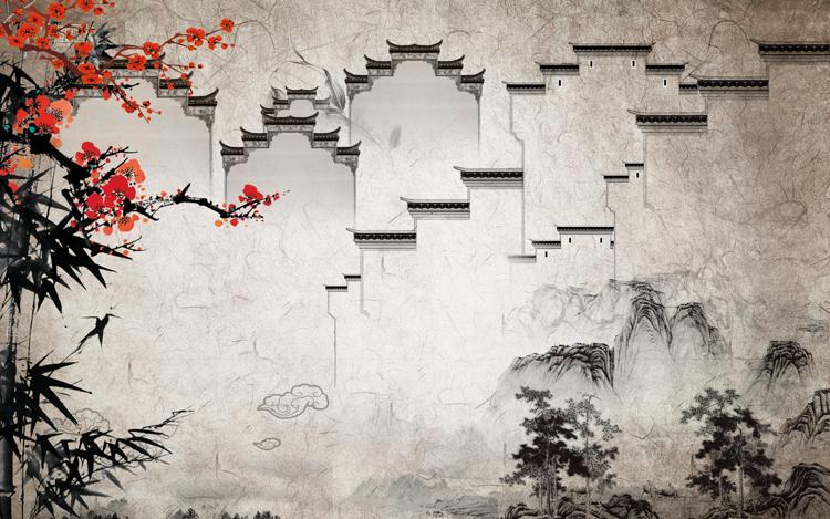 新中式抽像册水墨意境禅意客厅背景墙(70)