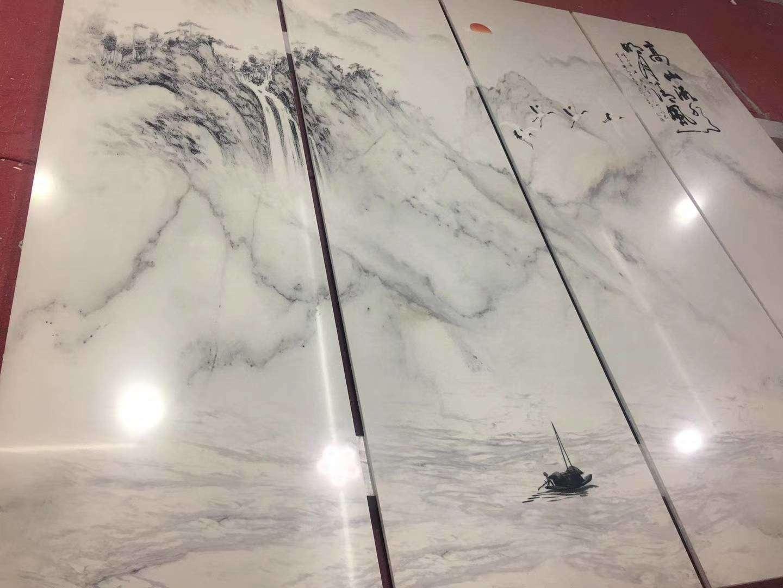 简约电视背景墙 渗墨大板石材背景墙(81)