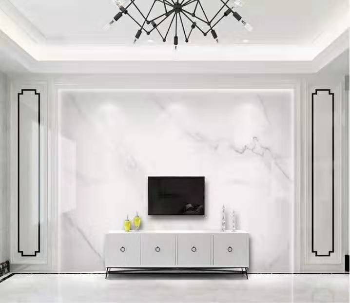 一号墙现代高端轻奢大理石大气爵士白电视背景墙(90)
