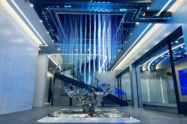 江阴双良集团展示馆不锈钢镜面水滴雕塑