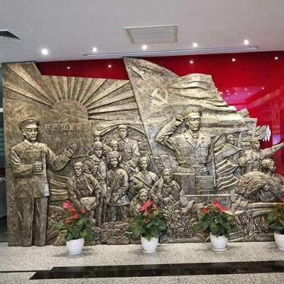 解放军玻璃钢浮雕仿铜