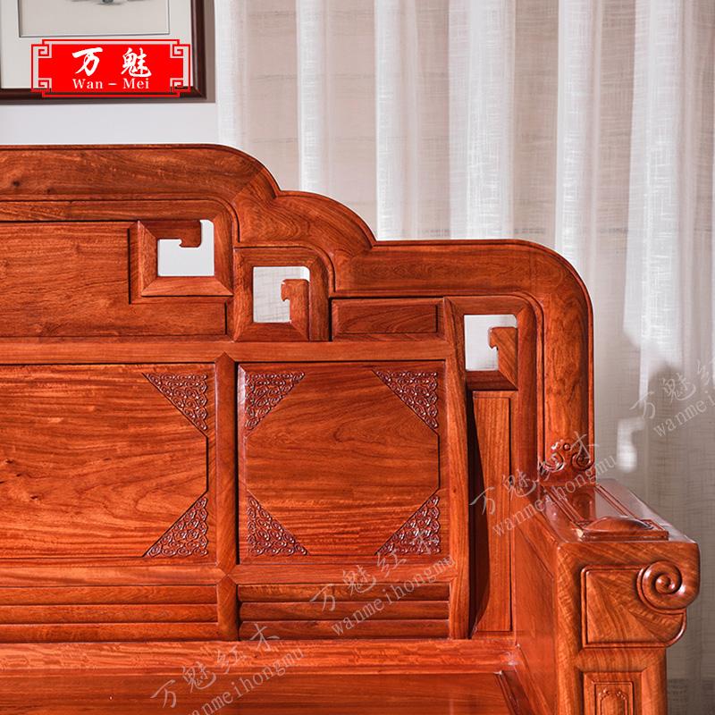 红木沙发家具缅甸花梨木红木明清仿古客厅用实木沙发组合雕花别墅