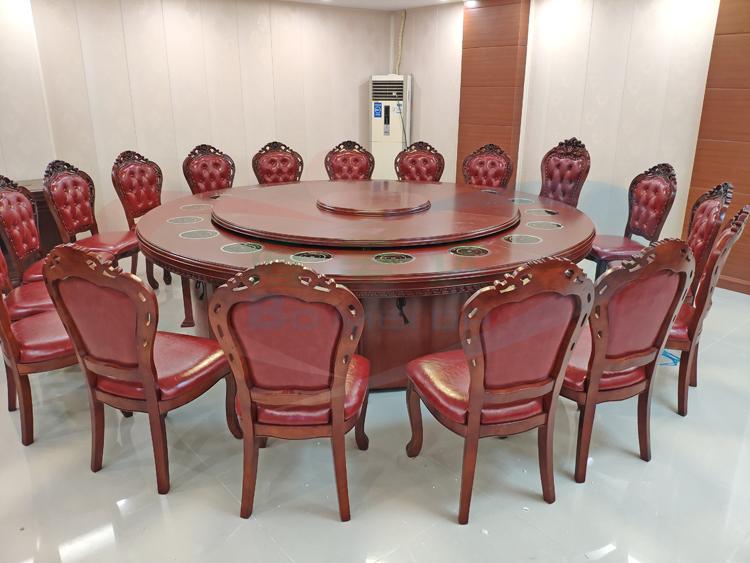 專業定制酒店餐廳實木電動火鍋餐桌