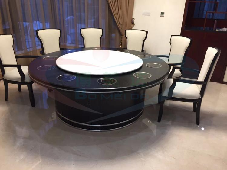 2.2米實木搭配大理石電動火鍋餐桌