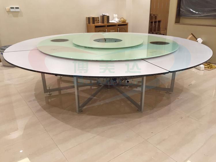 海南客戶案例 3.2米下沉式連體鋼架電動餐桌