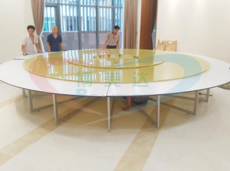 5米大型下沉款式連體鋼架電動餐桌