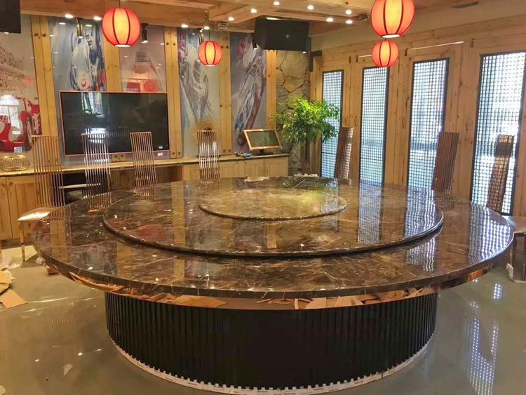 新中式大理石電動餐桌 電動旋轉餐桌