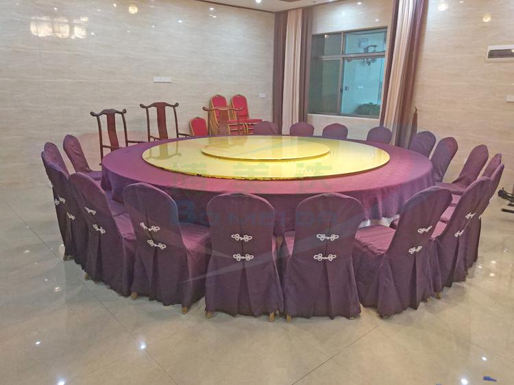 惠州客戶案例3.6米雙層連體電動餐桌 香檳金玻璃