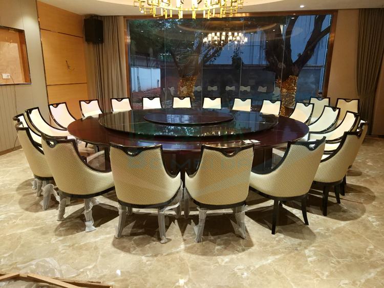 3.8米定制电动餐桌 钢木结合 高端定制