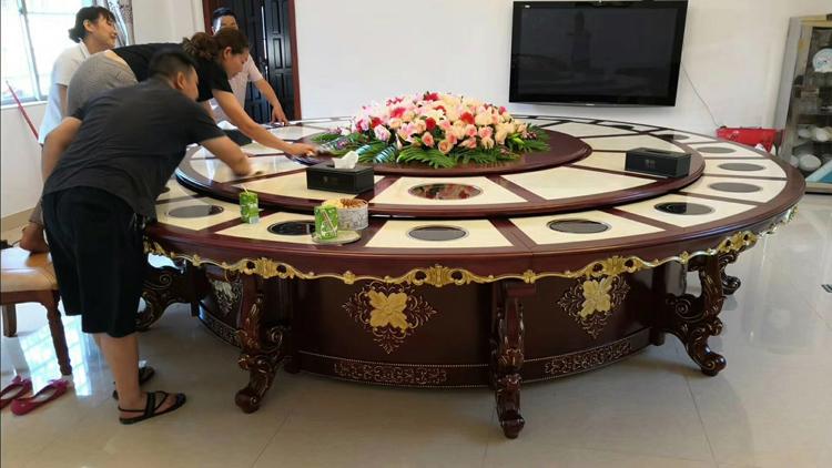 欧式豪华电动餐桌 嵌入式天然石桌面