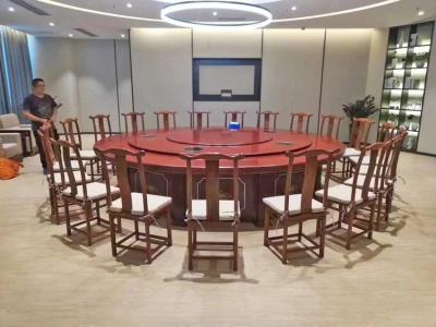 现代中式实木电动旋转餐桌