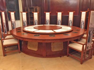 实木雕花电动火锅餐桌