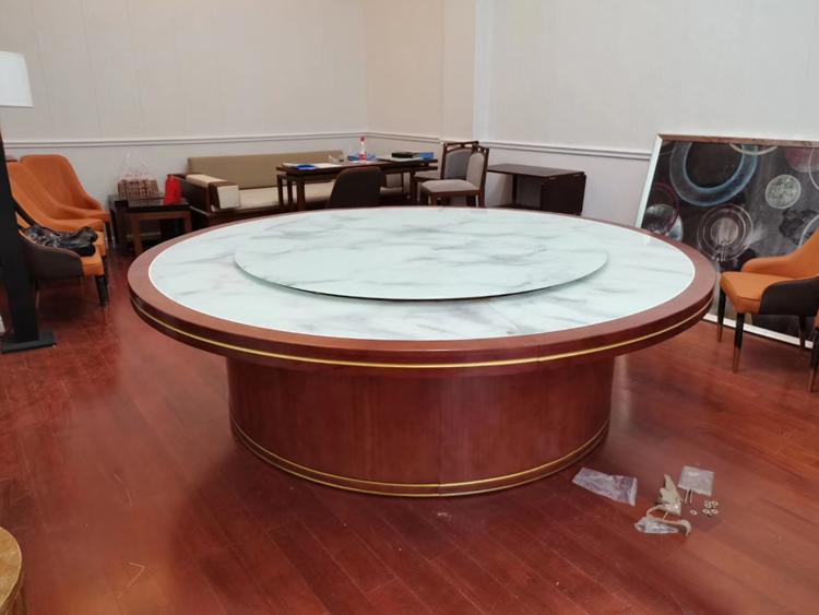 實木包邊石紋玻璃電動火鍋餐桌