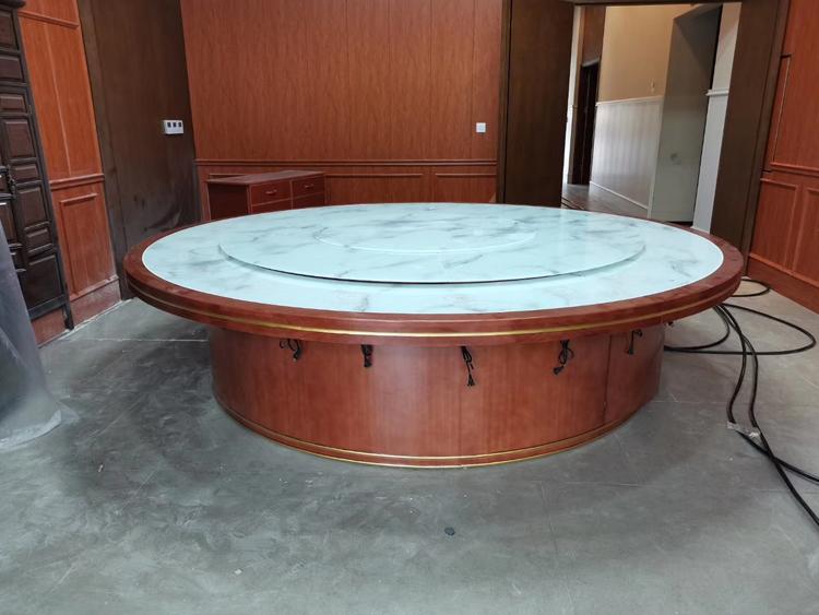 實木餐桌包邊仿石紋玻璃火鍋桌