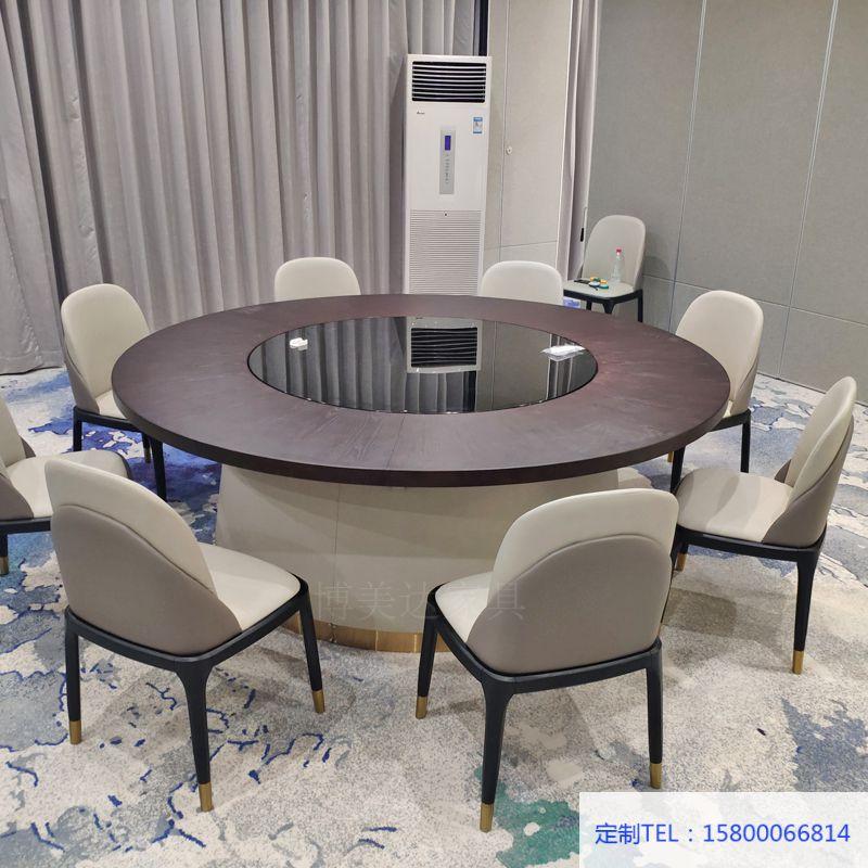 現代輕奢平轉桌面電動餐桌