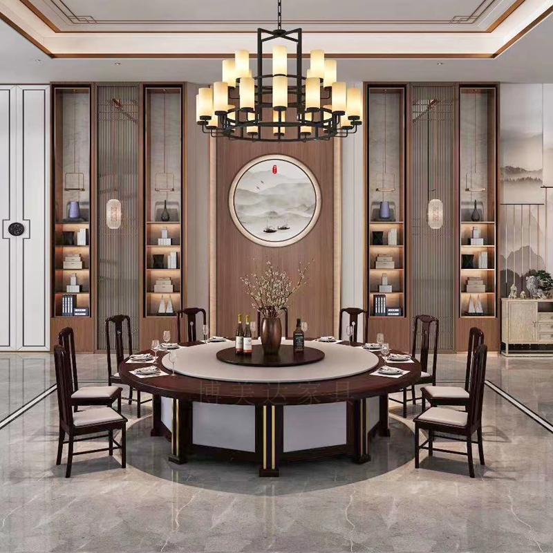 新中式風格實木電動餐桌搭配酒店會所系列