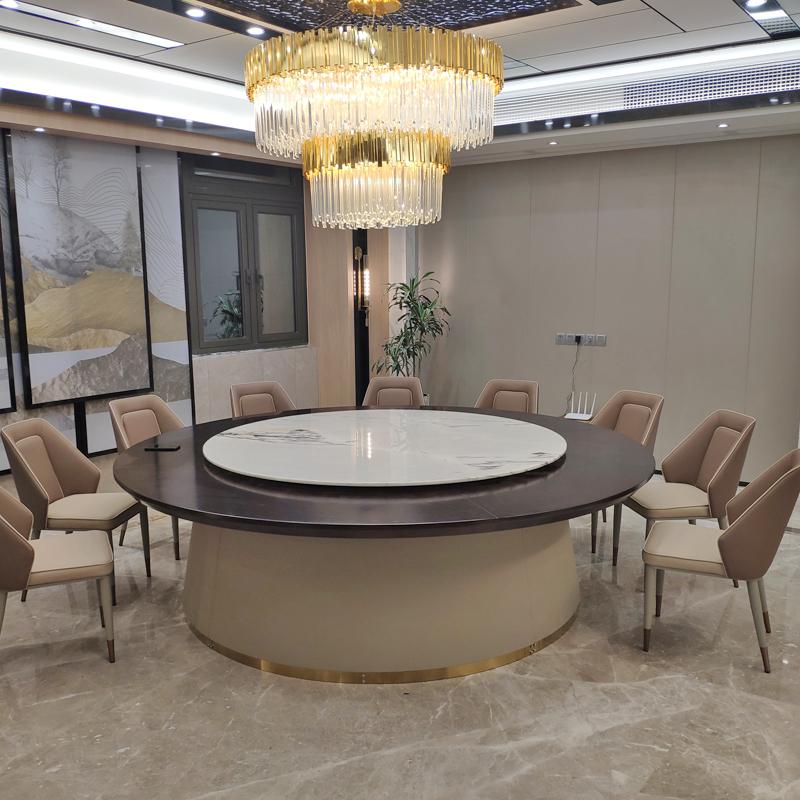輕奢風格電動餐桌轉盤搭配大理石/博美達家具