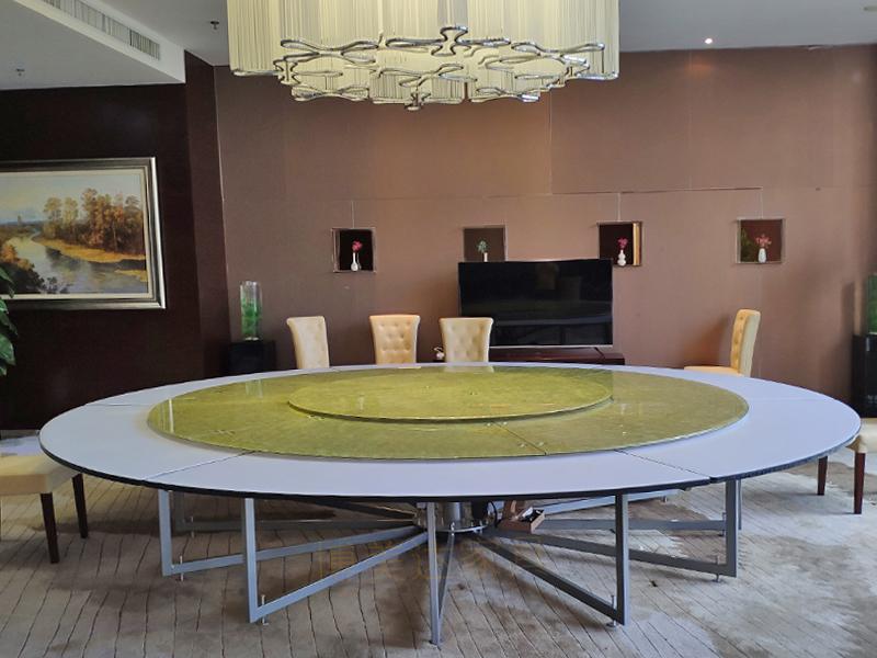直徑4米22人位連體鋼架電動餐桌