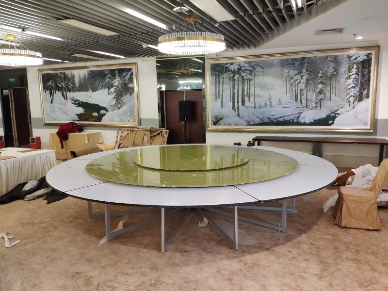 4米連體鋼架電動餐桌 公司接待大圓桌