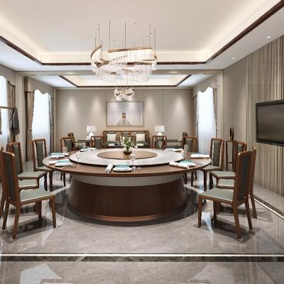 巖板輕奢電動桌 新中式包房大圓桌 電動桌