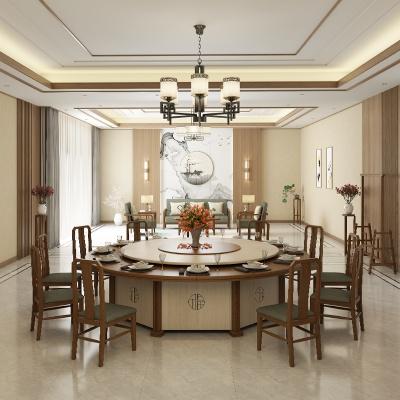 2.8米電動桌 實木電動餐桌 酒店會所18人桌