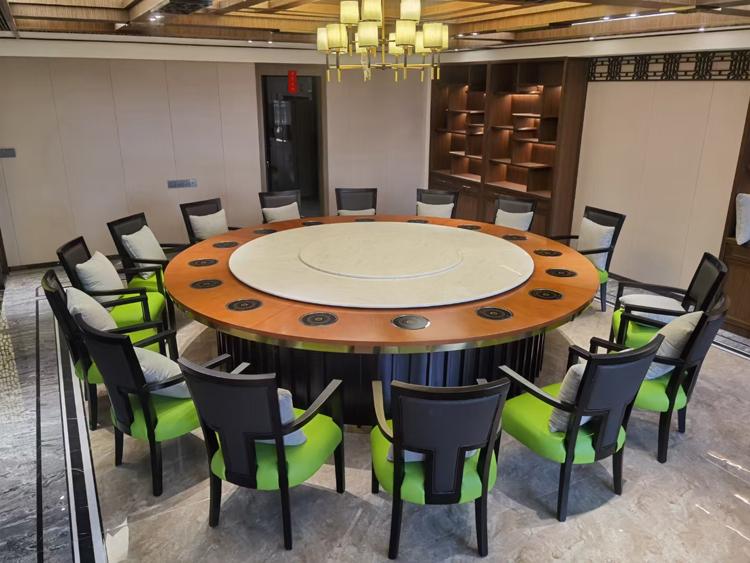 新中式實木電動火鍋餐桌定制