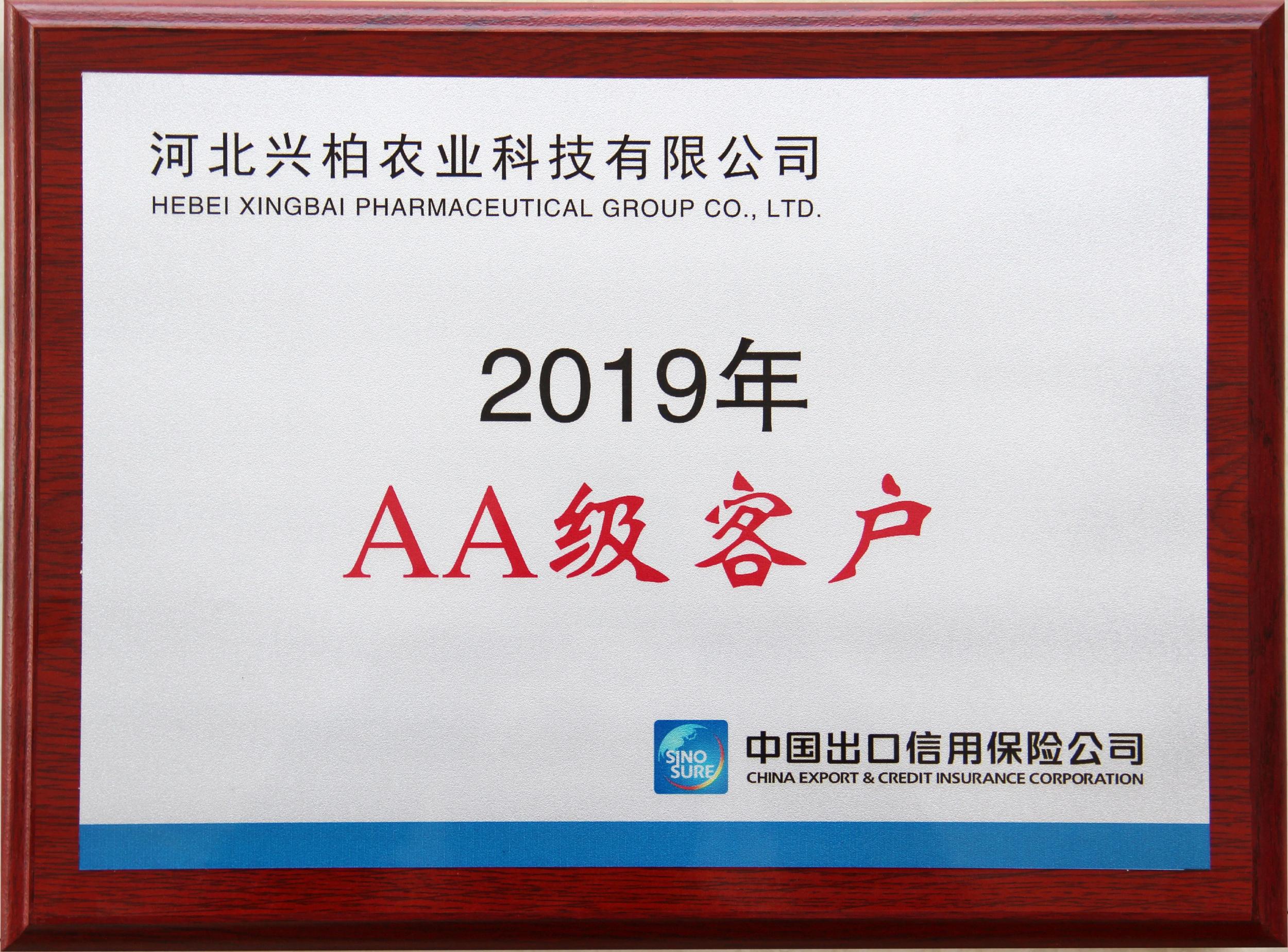 Cliente de clase AA de corporación de seguros de crédito de exportación de China 2019