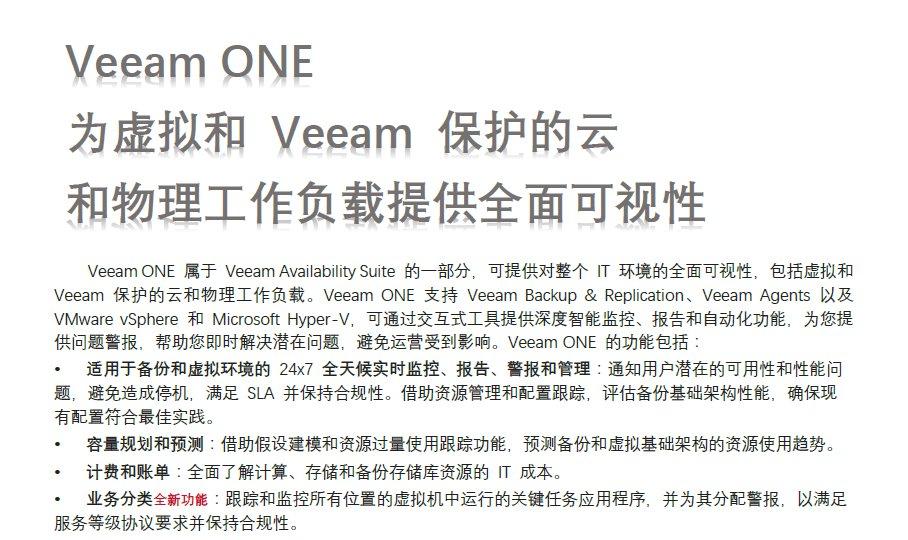 Veeam ONE 为虚拟和 V...