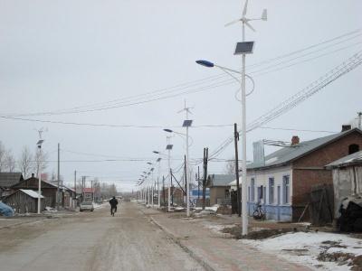 黑龍江省七臺河市農村風光互補太陽能路燈水平軸300W風機