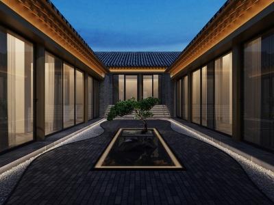 北京中式民宿庭院效果图-民宿庭院效果图