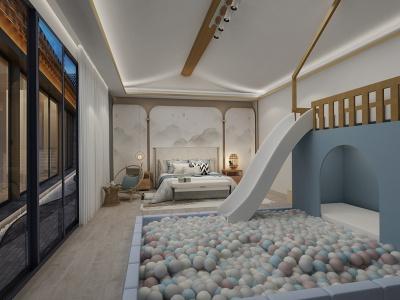 现代中式风格-儿童房-亲子套房效果图