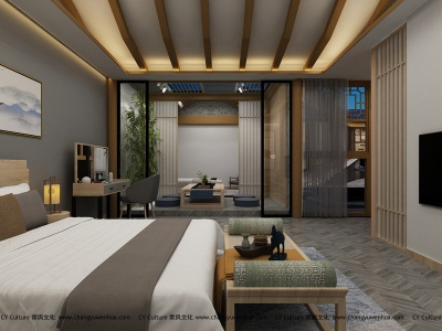 中式套房-现代中式卧室效果图