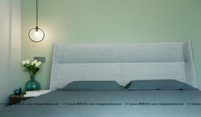 卧室效果图-以稳重雅致的灰、绿色作为房间的主色调,极简的风范