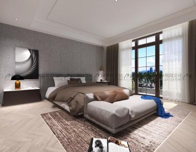 原木风格主卧室设计效果图-现代原木卧室装修效果图-灰色墙面搭配暖色实木地板,调和出了温馨又充满质感的客厅空间