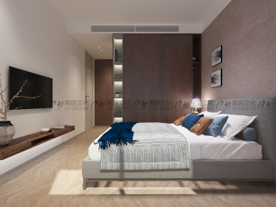 胡桃木色老人房设计效果图-轻奢木色卧室效果图-简洁优雅的胡桃木色到顶大衣柜,满足了卧室收纳功能。