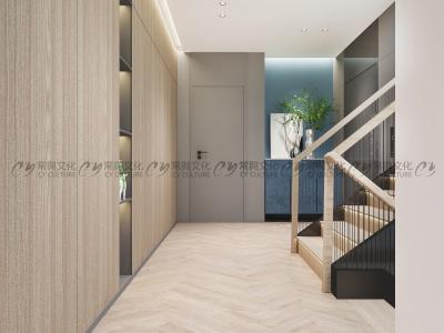 别墅楼道设计效果图-原木风格地板和墙面效果图-以幽静的原木色系做为主色调,营造了自然、温馨的氛围。
