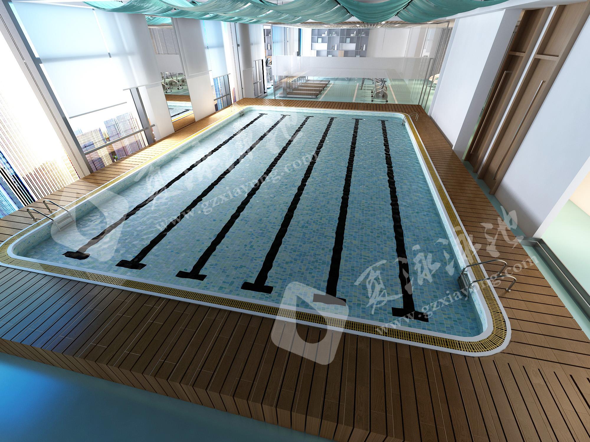 健身房室内钢结构游泳池效果展示