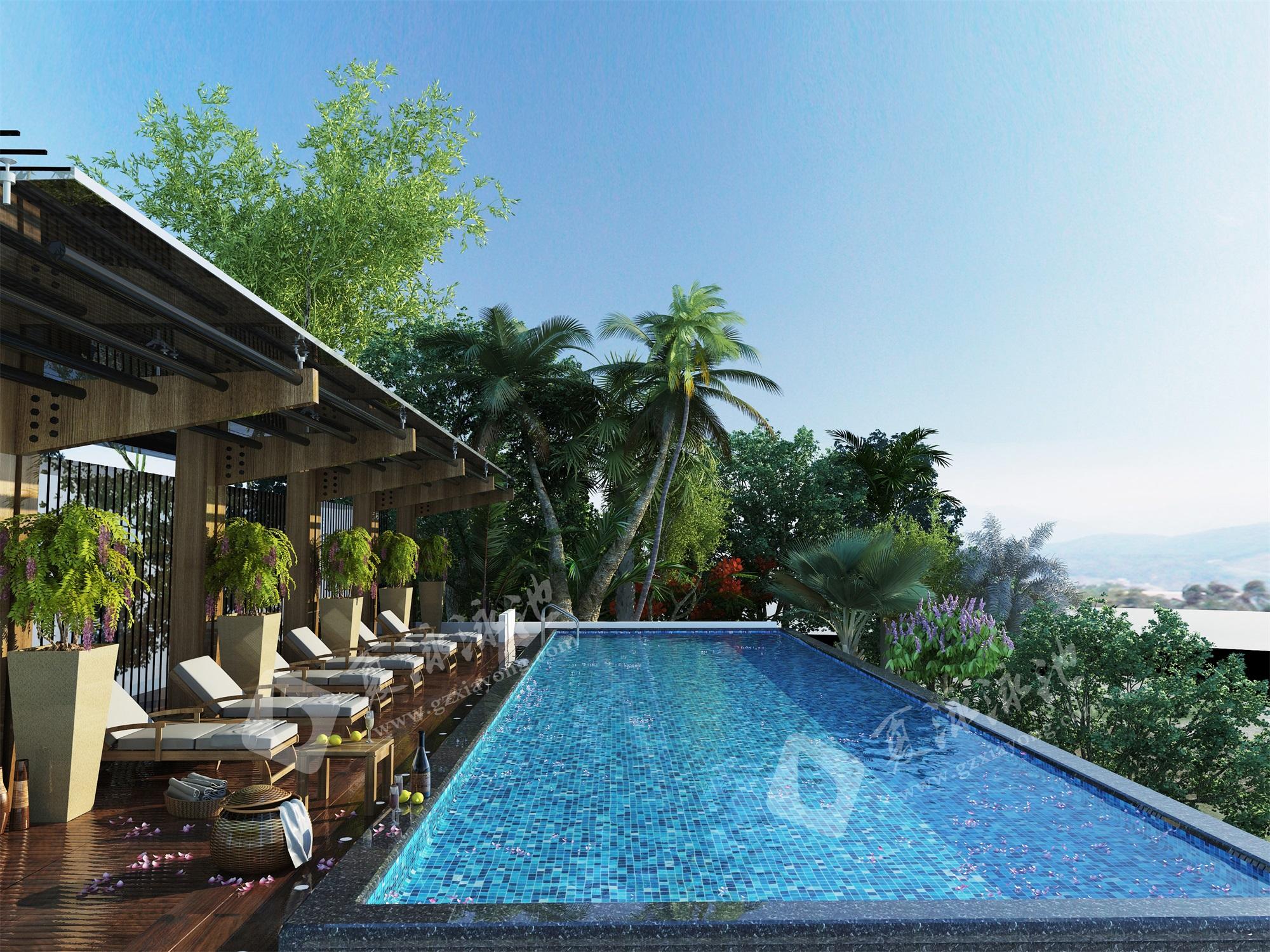 休闲度假旅游海景酒店室外无边际泳池效果展示