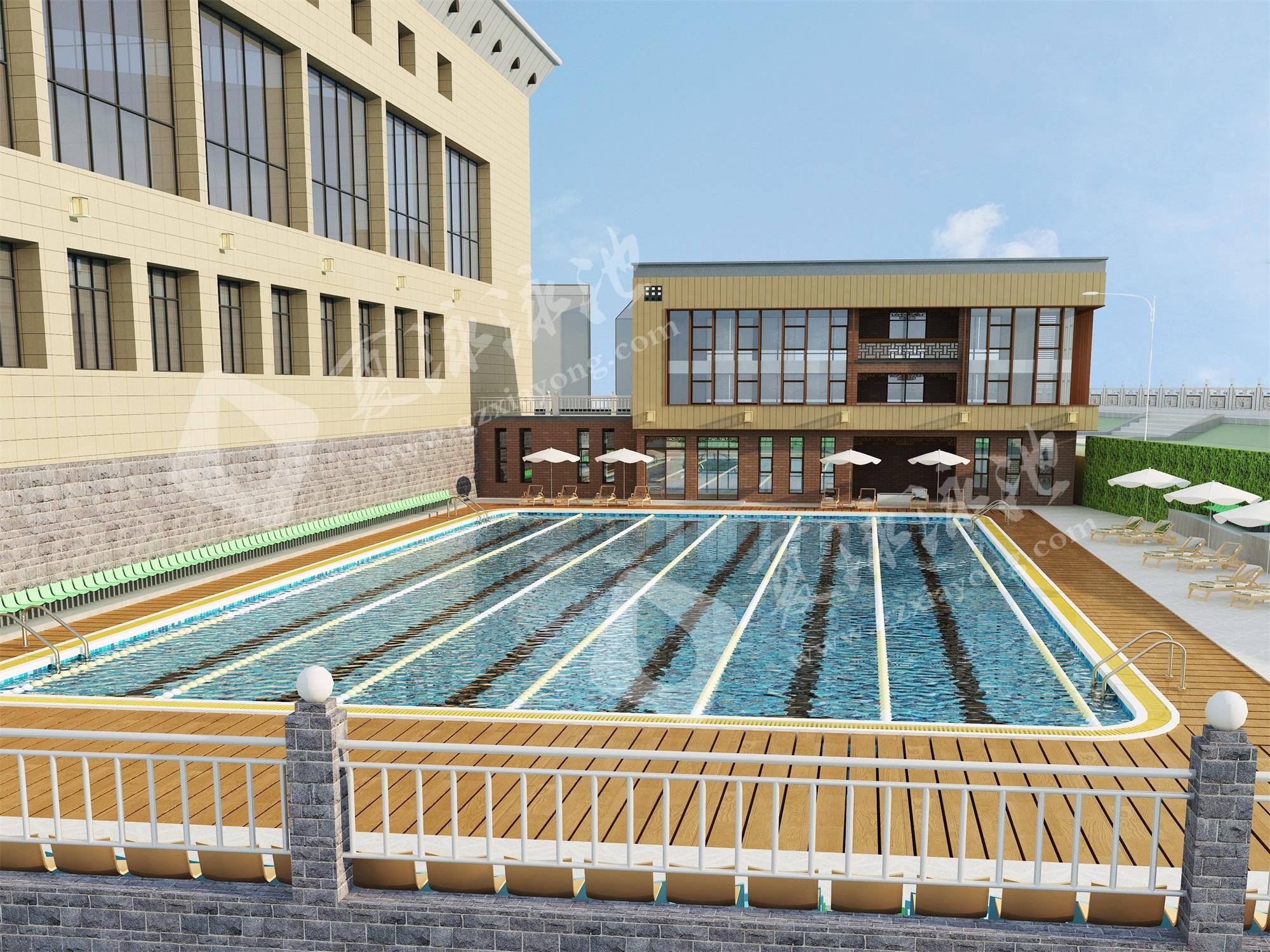 学校校园室外露天游泳池效果展示