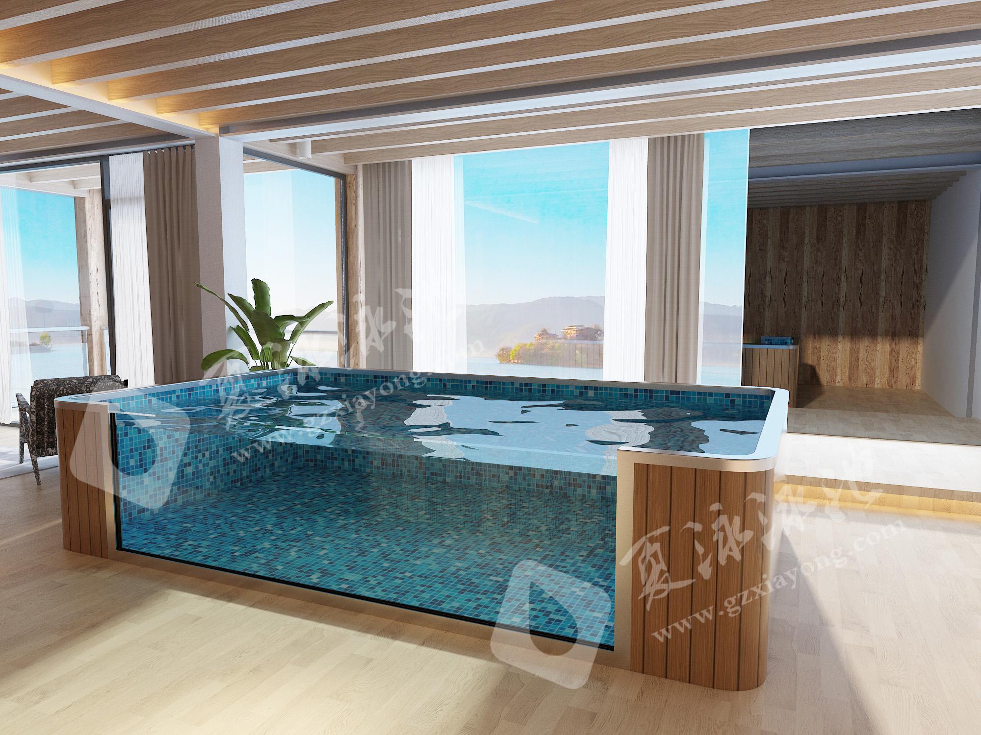 别墅室内定制透明玻璃装饰游泳池效果展示